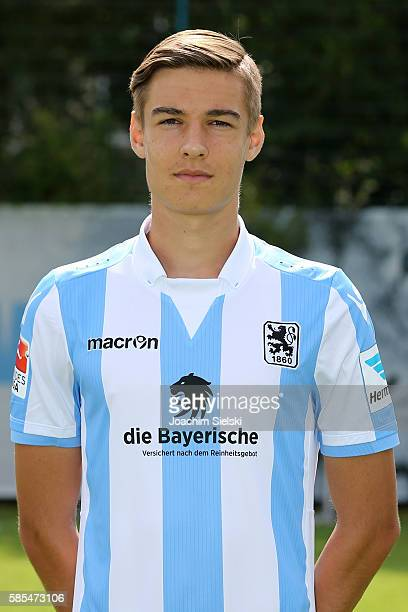Florian Neuhaus poses during the official team presentation of TSV 1860 Muenchen at Trainingsgelaende on July 22 2016 in Munich Germany