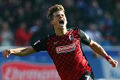 Florian Niederlechner of Freiburg celebrates his team's second goal during the Second Bundesliga match between SC Freiburg and 1 FC Kaiserslautern at...