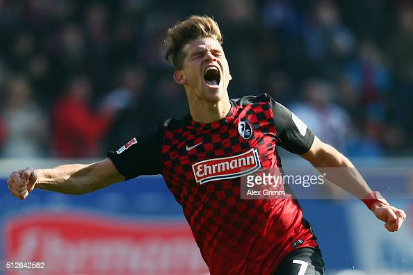 Florian Niederlechner of Freiburg celebrates his team's second goal during the Second Bundesliga match between SC Freiburg and 1 FC Kaiserslautern at...