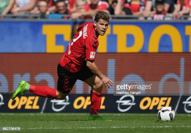 Florian Niederlechner of Freiburg controls the ball during the Bundesliga match between SC Freiburg and FC Ingolstadt 04 at SchwarzwaldStadion on May...