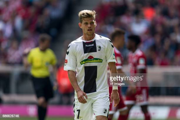 Florian Niederlechner of Freiburg looks on during the Bundesliga match between Bayern Muenchen and SC Freiburg at Allianz Arena on May 20 2017 in...