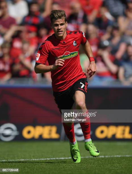 Florian Niederlechner of Freiburg runs for the ball during the Bundesliga match between SC Freiburg and FC Ingolstadt 04 at SchwarzwaldStadion on May...