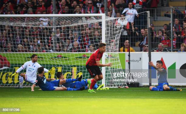 Florian Niederlechner of SC Freiburg is celebrates after scoring a goal during the Bundesliga match between SportClub Freiburg and TSG 1899...