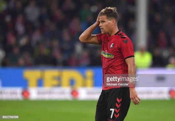 Florian Niederlechner of SC Freiburg reacts during the Bundesliga match between Sport Club Freiburg and Hannover 96 at SchwarzwaldStadion on...