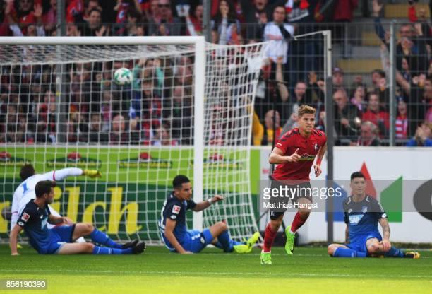 Florian Niederlechner of SC Freiburg scores a goal during the Bundesliga match between SportClub Freiburg and TSG 1899 Hoffenheim at...
