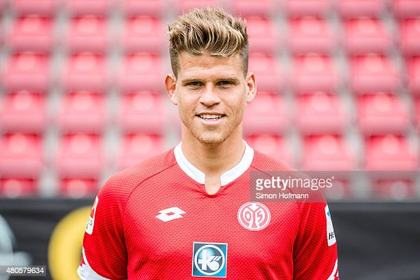 Florian Niederlechner poses during the 1 FSV Mainz 05 Team Presentation at Coface Arena on July 12 2015 in Mainz Germany