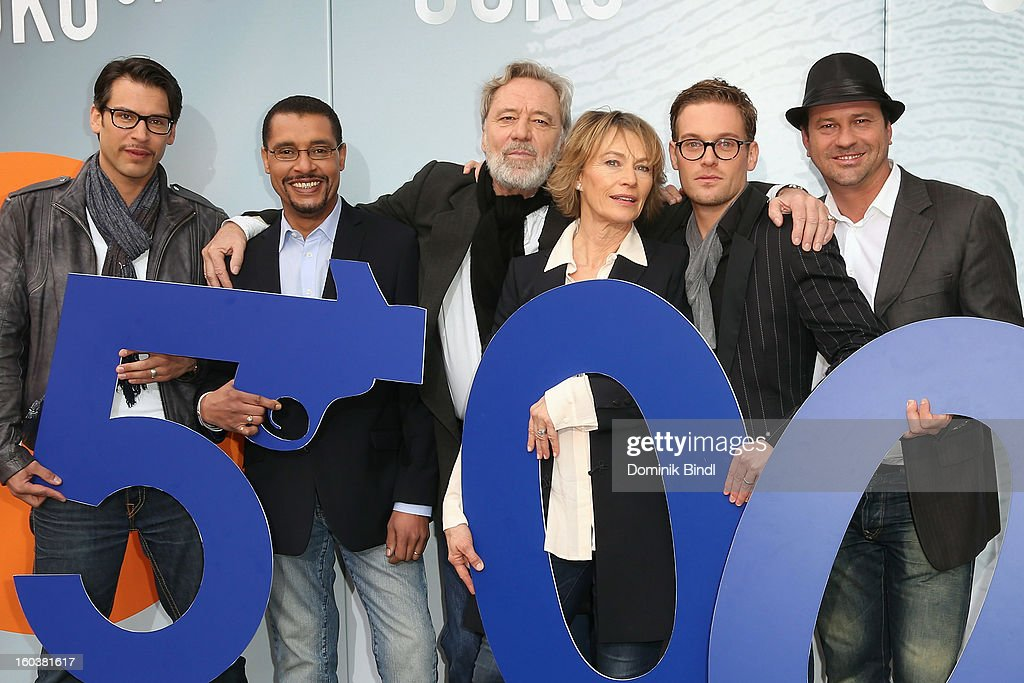 Florian Odendahl, Christofer von Beau, Gerd Silberbauer, Ilona Gruebel, Joscha Kiefer and Michel Guillaume attend the 35 years anniversary of the tv show 'Soko 5113' on January 30, 2013 in Munich, Germany.