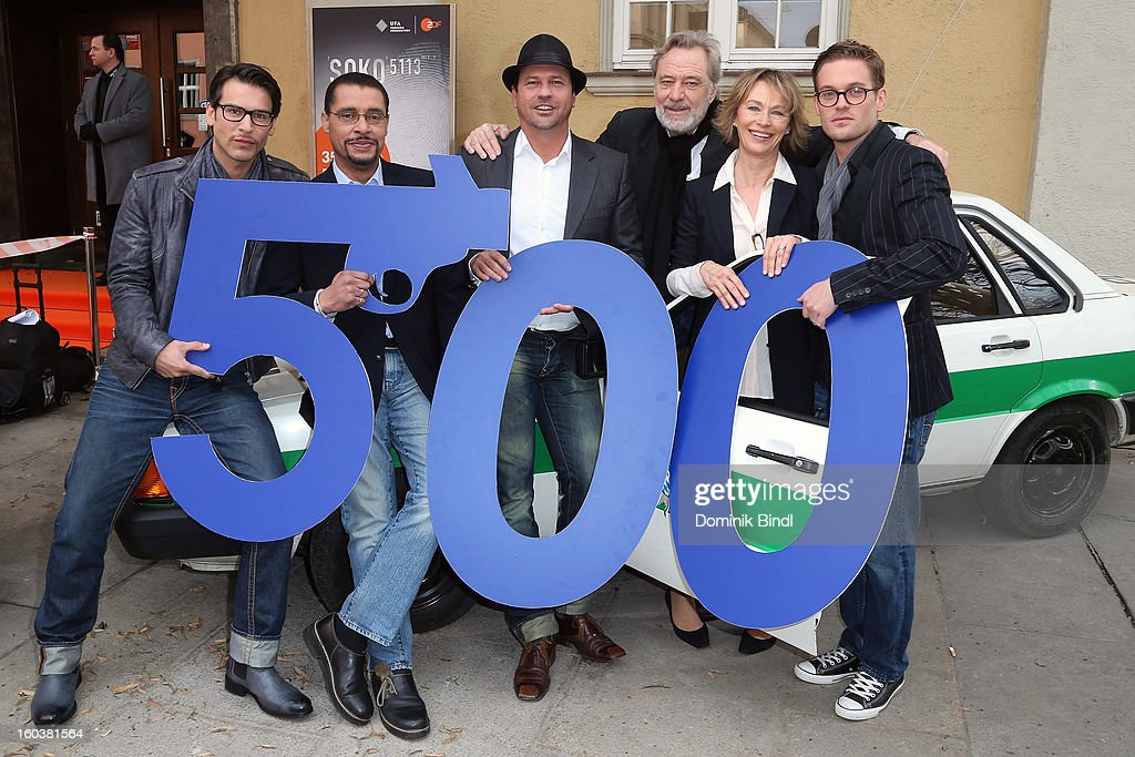 Florian Odendahl, Christofer von Beau,Michel Guillaume, Gerd Silberbauer, Ilona Gruebel and Joscha Kiefer attend the 35 years anniversary of the tv show 'Soko 5113' on January 30, 2013 in Munich, Germany.