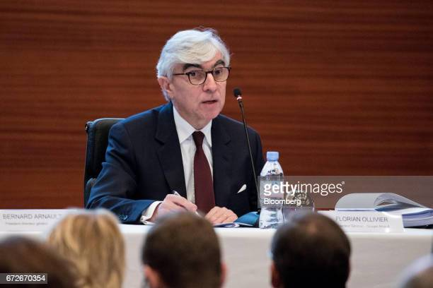Florian Ollivier chief financial officer of Christian Dior SE speaks during a news conference in Paris France on Tuesday April 25 2017 French...