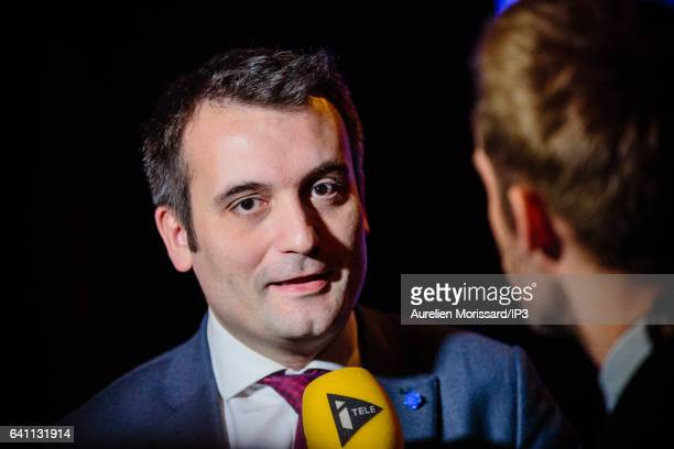 Florian Philippot Vice President of the French far right National Front political party speaks to the media during the 'Assises de la présidentielle'...