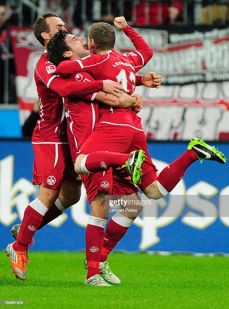 Florian Riedel (R) of Kaiserslautern and his teammates celebrate a goal during the Second Bundesliga match between TSV 1860 Muenchen and 1. FC Kaiserslautern at Allianz Arena on February 4, 2013 in Munich, Germany.