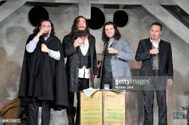 Florian Sempey as Schaunard Luca Tittoto as Colline Michael Fabiano as Rodolfo and Mariusz Kwiecien as Marcello in the Royal Opera's production of...