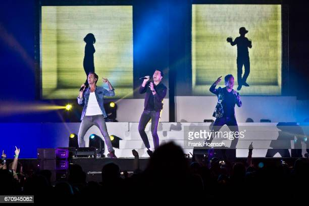 Florian Silbereisen Jan Smit and Christoff De Bolle of the band Klubbb3 perform live during the show 'Das grosse Schlagerfest' at the MercedesBenz...