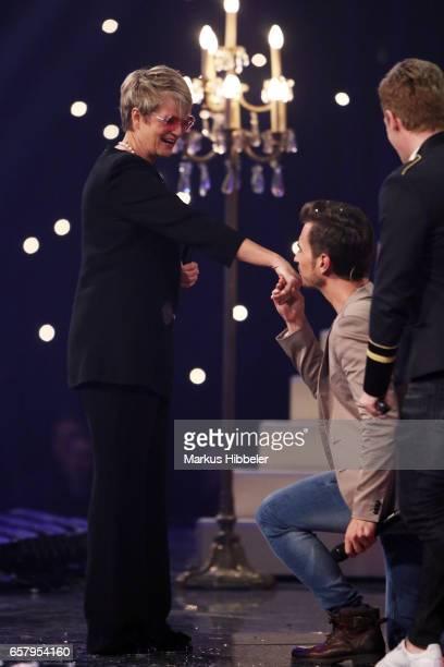 Florian Silbereisen kisses Gloria von Thurn und Taxis hand during the show 'Schlagercountdown Das grosse Premierenfest' at EWE Arena on March 25 2017...