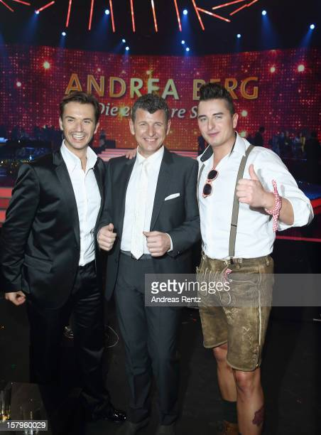 Florian Silbereisen Semino Rossi and Andreas Gabalier attend the Andrea Berg 'Die 20 Jahre Show' at Baden Arena on December 7 2012 in Offenburg...