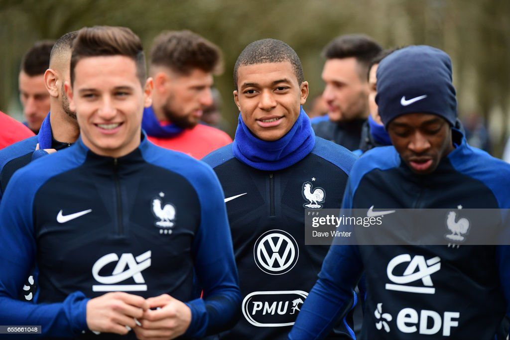 Florian Thauvin and Kylian Mbappe of France during the trainig session of the soccer french national team at Centre National du Football on March 20, 2017 in Clairefontaine, France.