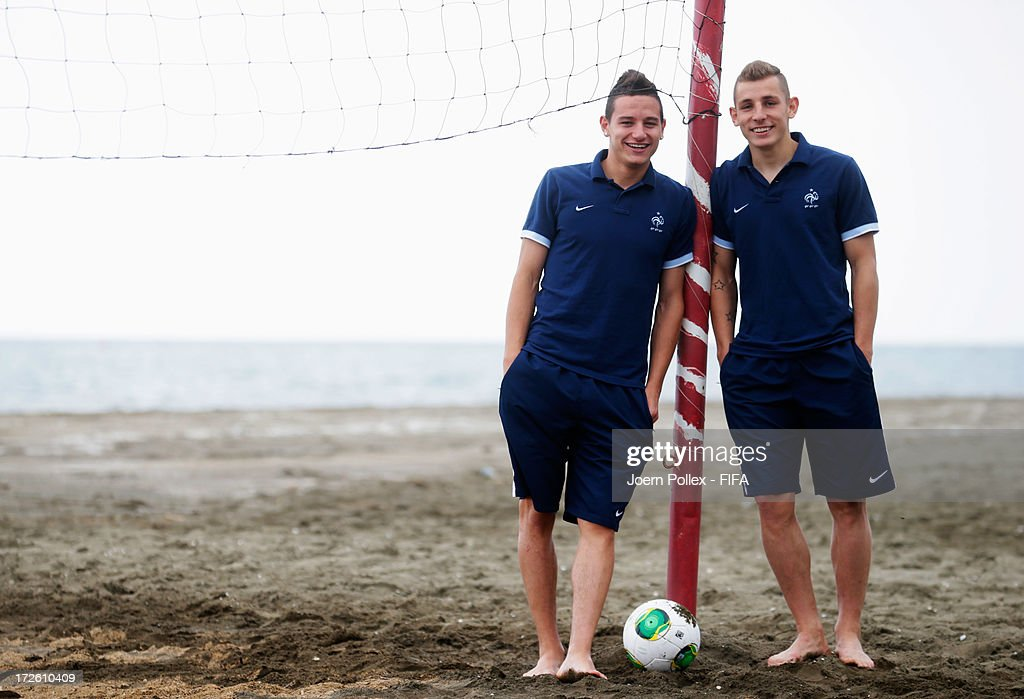 Florian Thauvin (L) and Lucas Digne of France are pictured at Novotel Trabzon on July 4, 2013 in Trabzon, Turkey.