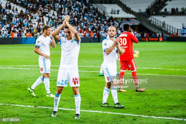 Florian Thauvin and Valere Germain during the Ligue 1 match between Olympique Marseille vs Dijon FCO at Stade Velodrome on August 6 2017 in Marseille...