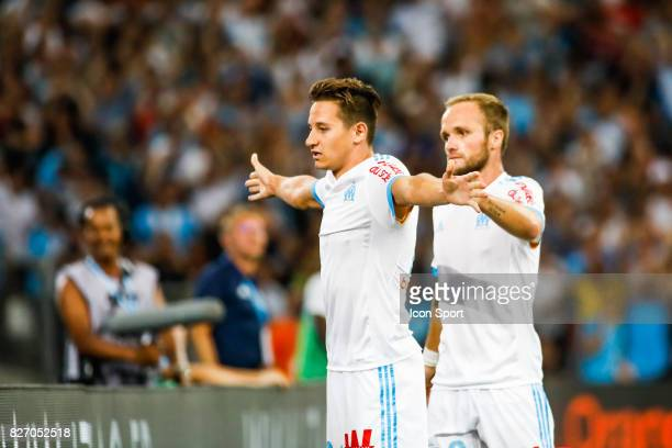 Florian Thauvin and Valere Germain of Marseille celebrate his goal during the Ligue 1 match between Olympique Marseille and Dijon FCO at Stade...