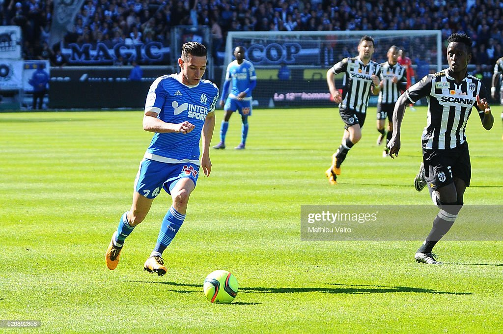 Florian Thauvin during the French Ligue 1 match between Angers SCO and Olympique de Marseille on May 1, 2016 in Angers, France.