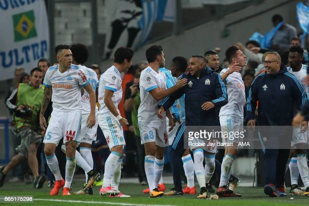 Florian Thauvin of Marseille celebrates after scoring a goal to make it 21 during the Ligue 1 match between Olympique Marseille and Paris Saint...