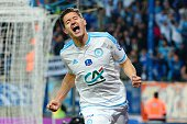 Florian Thauvin of Marseille celebrates after scoring his goal during the semifinal French Cup between Sochaux and Olympique de Marseille at Stade...