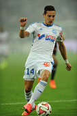 Florian Thauvin of Marseille in action during the French Ligue 1 match between Olympique de Marseille and OGC Nice at Stade Velodrome on August 29...
