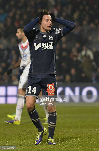 Florian Thauvin of Marseille in action during the french Ligue 1 match between Olympique Lyonnais OL and Olympique de Marseille OM at the Stade...