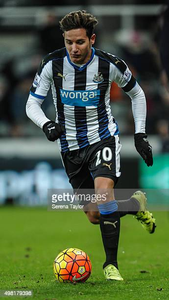 Florian Thauvin of Newcastle runs with the ball during the Barclays Premier League match between Newcastle United and Leicester City at StJames' Park...