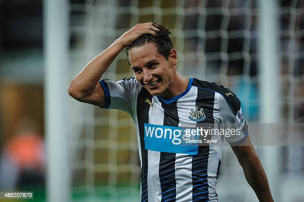 Florian Thauvin of Newcastle smiles during The Capital One Cup second round match between Newcastle United and Northampton Town at StJames Park on...