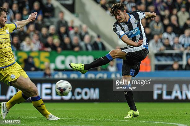 Florian Thauvin of Newcastle strikes the ball during The Capital One Cup third round match between Newcastle United and Sheffield Wednesday at...