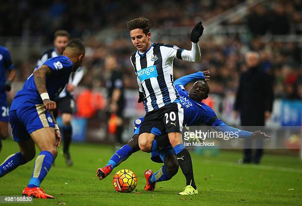 Florian Thauvin of Newcastle United and Ngolo Kante of Leicester City compete for the ball during the Barclays Premier League match between Newcastle...
