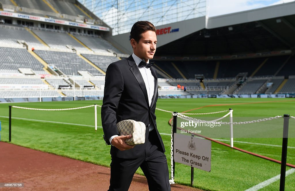 <a gi-track='captionPersonalityLinkClicked' href=/galleries/search?phrase=Florian+Thauvin&family=editorial&specificpeople=9157453 ng-click='$event.stopPropagation()'>Florian Thauvin</a> of Newcastle United arrives in a tuxedo for the Barclays Premier League match between Newcastle United and Arsenal at St James' Park on August 29, 2015 in Newcastle upon Tyne, England.