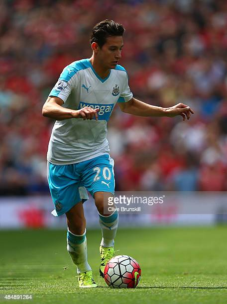 Florian Thauvin of Newcastle United in action during the Barclays Premier League match between Manchester United and Newcastle United at Old Trafford...