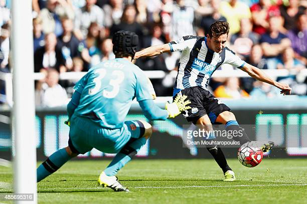 Florian Thauvin of Newcastle United shoots at goal during the Barclays Premier League match between Newcastle United and Arsenal at St James' Park on...