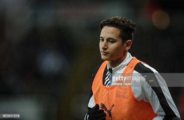 Florian Thauvin of Newcastle warms up during the Barclays Premier League match between Newcastle United and Everton at StJames' Park on December 26...