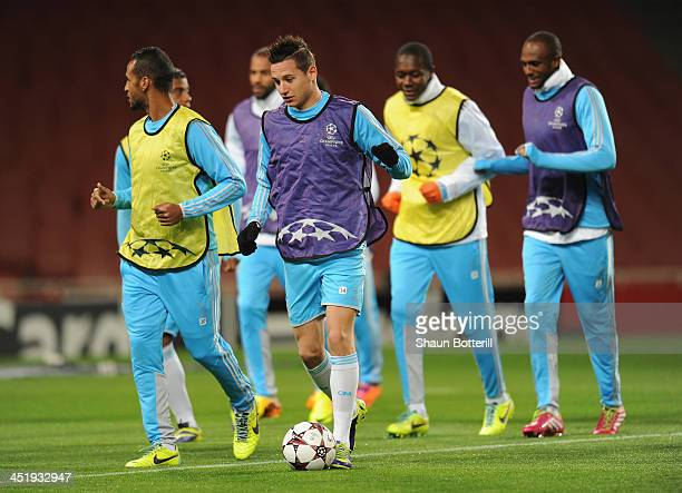 Florian Thauvin of Olympic de Marseille warms up during a training session at Emirates Stadium on November 25 2013 in London England