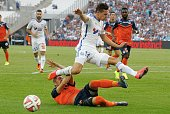 Florian Thauvin of Olympique de Marseille FC in action during the French Ligue 1 between Olympique de Marseille FC and Montpellier Herault FC at...