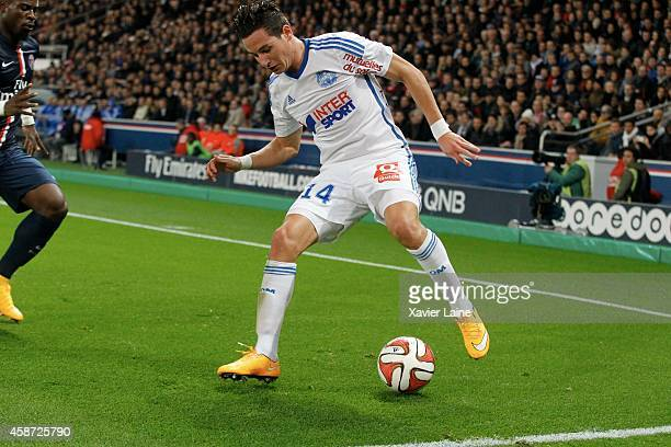Florian Thauvin of Olympique de Marseille in action during the French Ligue 1 between Paris SaintGermain FC and Olympique de Marseille at Parc Des...