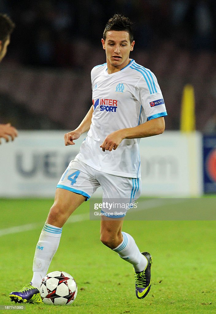 <a gi-track='captionPersonalityLinkClicked' href=/galleries/search?phrase=Florian+Thauvin&family=editorial&specificpeople=9157453 ng-click='$event.stopPropagation()'>Florian Thauvin</a> of Olympique de Marseille in action during the UEFA Champions League Group F match between SSC Napoli and Olympique de Marseille at Stadio San Paolo on November 6, 2013 in Naples, Italy.