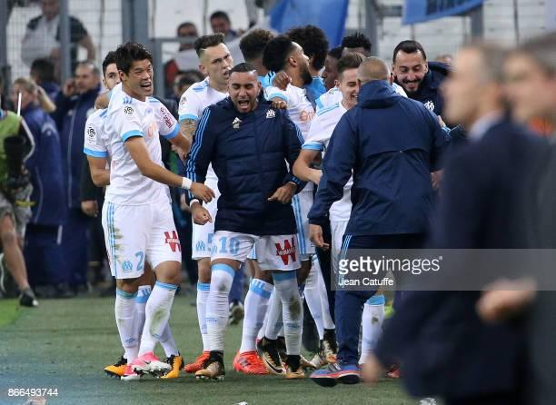 Florian Thauvin of OM celebrates his goal with Hiroki Sakai Dimitri Payet Konstantinos Kostas Mitroglou during the French Ligue 1 match between...