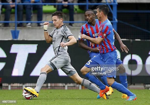 Florian Thauvin of OM in action during the French Ligue 1 match between Stade Malherbe de Caen and Olympique de Marseille at Stade Michel D'Ornano on...