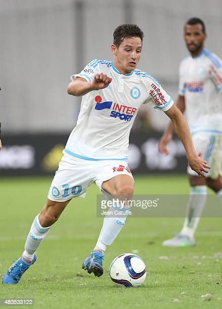 Florian Thauvin of OM in action during the French Ligue 1 match between Olympique de Marseille and SM Caen at Stade Velodrome on August 8 2015 in...