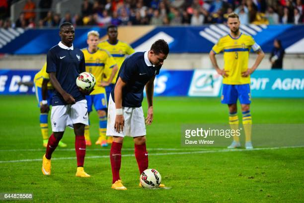 Florian THAUVIN / Paul Georges NTEP Suede / France Eliminatoires Euro Espoirs 2015 Photo Dave Winter / Icon Sport