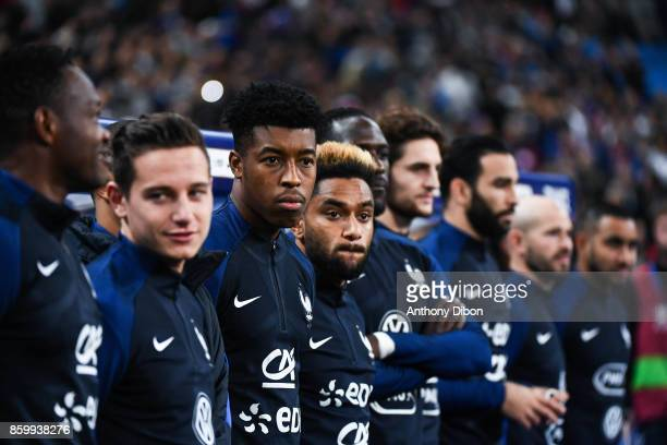 Florian Thauvin Presnel Kimpembe and Jordan Amavi of France during the Fifa 2018 World Cup qualifying match between France and Belarus on October 10...