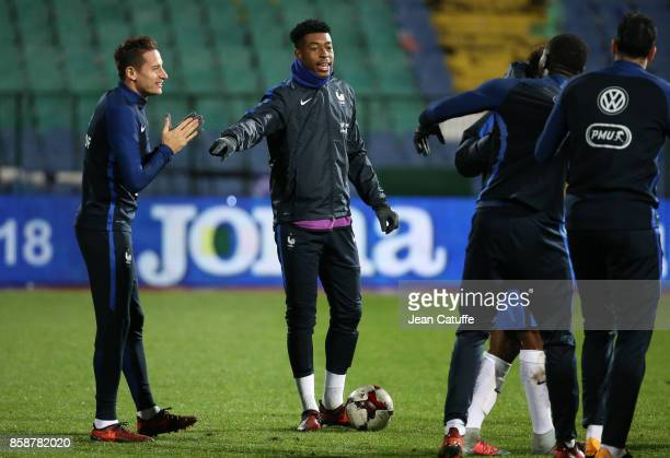 Florian Thauvin Presnel Kimpembe of France warm down following the FIFA 2018 World Cup Qualifier between Bulgaria and France at Vasil Levski National...