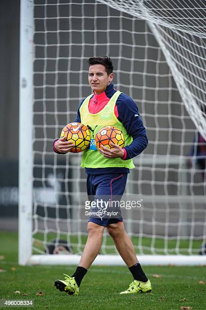 Florian Thauvin walks with a ball under each arm during the Newcastle United Training session at The Newcastle United Training Centre on November 6...