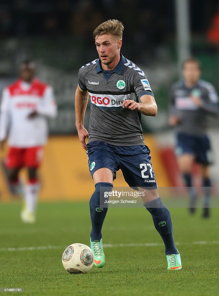 Florian Trinks of Fuerth controls the ball during the 2nd Bundesliga match between 1. FC Koeln and Greuther Fuerth at RheinEnergieStadion on February 24, 2014 in Cologne, Germany.