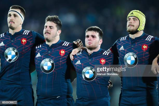 Florian Verhaeghe Ugo Boniface Etienne Fourcade and Mickael Capelli of France during the RBS Six Nations match between France U20 and Wales U20 on...