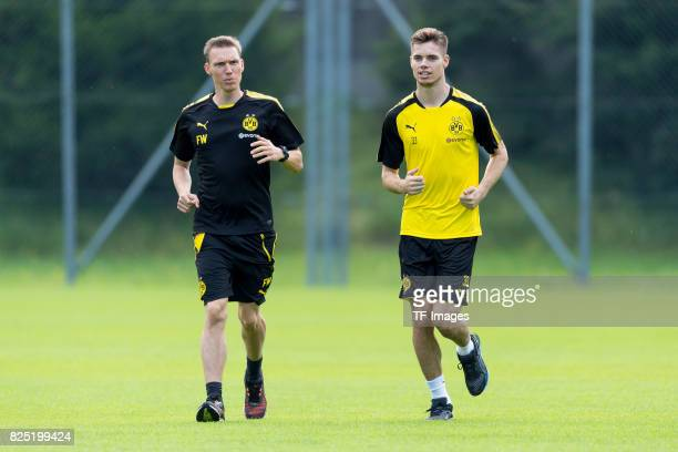 Florian Wangler and Julian Weigl of Dortmund run during a training session as part of the training camp on July 29 2017 in Bad Ragaz Switzerland